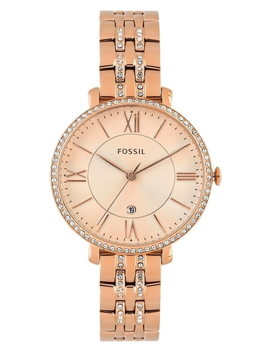 fossil jacqueline rose-tone stainless steel watch-ES3546