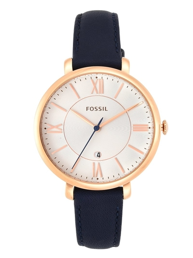 fossil jacqueline navy leather watch-ES3843