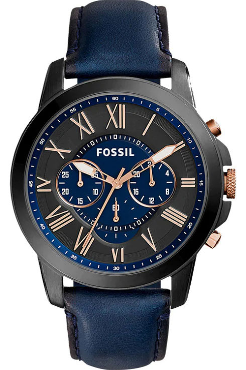 fossil grant chronograph navy leather women watch-Fs5061