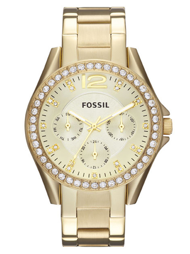 fossil riley multifunction gold-tone stainless steel watch-ES3203