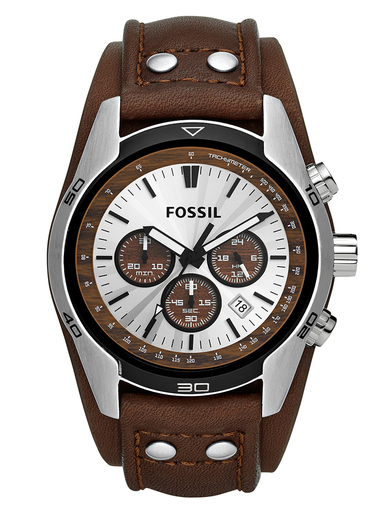 fossil coachman chronograph brown leather watch-CH2565I