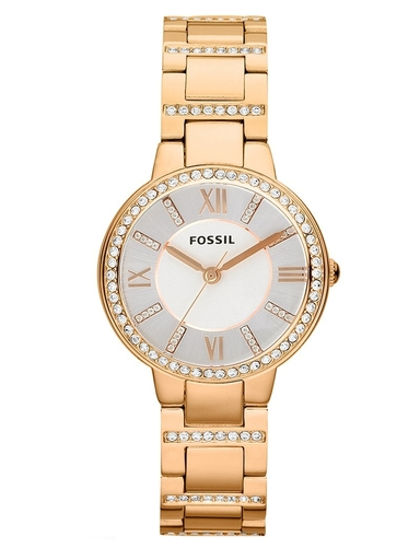 fossil virginia rose-tone stainless steel watch-ES3284