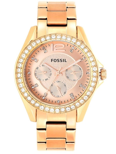 fossil riley multifunction rose-tone stainless steel watch-ES2811