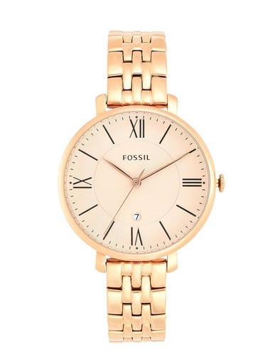 fossil jacqueline rose-gold stainless steel analog watch-ES3435