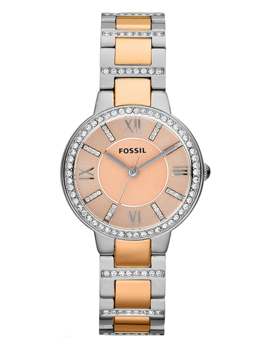 fossil virginia two-tone stainless steel watch-ES3405