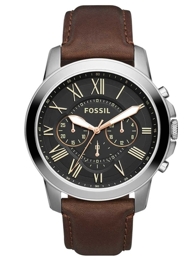 Fossil Men Grant Chronograph Brown Leather Analog Watch-FS4813