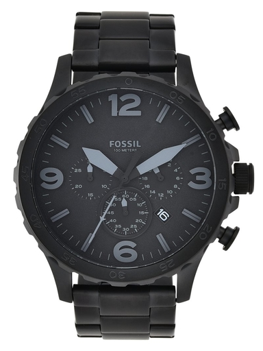 fossil nate chronograph black stainless steel watch-JR1401