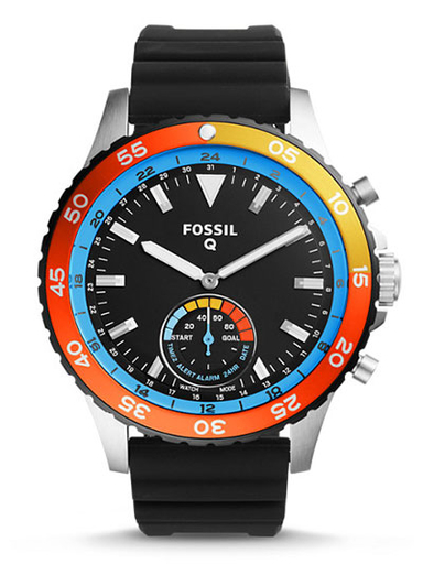 Fossil Hybrid Smartwatch Crewmaster Black Silicone-FTW1124