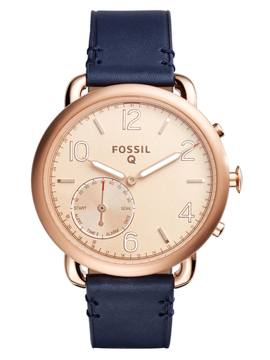fossil hybrid smartwatch tailor dark navy leather-FTW1128