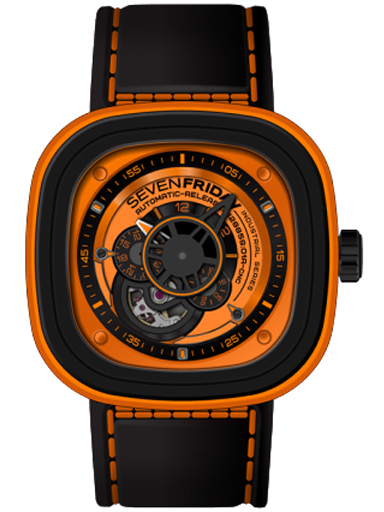 Seven Friday P-Series KUKA Automatic Orange Dial Men's Watch P1/03-P1/03