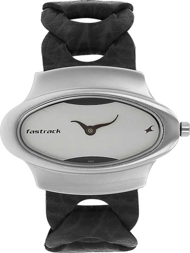 fastrack analog brown leather women's watch-NM6004SL01