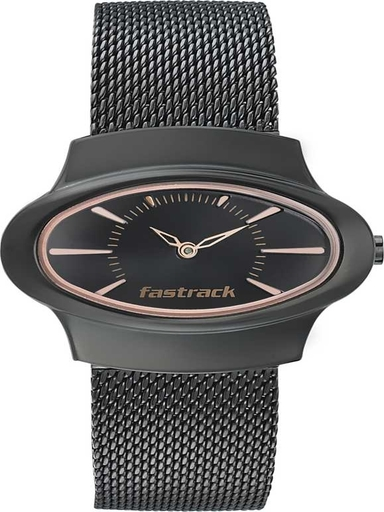 fastrack hitlist analog black dial women's watch-6004NM01
