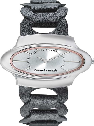 fastrack analog hitlist silver dial women's watch-6004SL08
