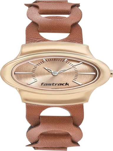 fastrack analog hitlist rose gold dial women's watch-6004WL01