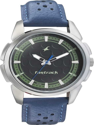 fastrack sunburn watch black and green dial with leather strap-3233SL02