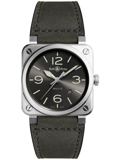 Bell & Ross BR03-92 Grey LUM Automatic 42mm Men's Watch-BR0392-GC3-ST/SCA