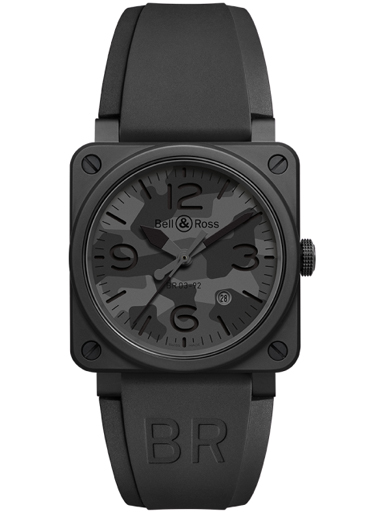 Bell & Ross BR03-92 Black Como Automatic 42mm Men's Watch-BR0392-CAMO-CE/SRB