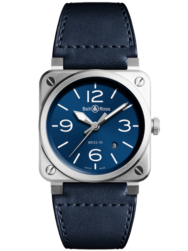 Bell & Ross BR03-92 Blue Steel Blue Dial Automatic 42mm Men's Watch-BR0392-BLU-ST/SCA