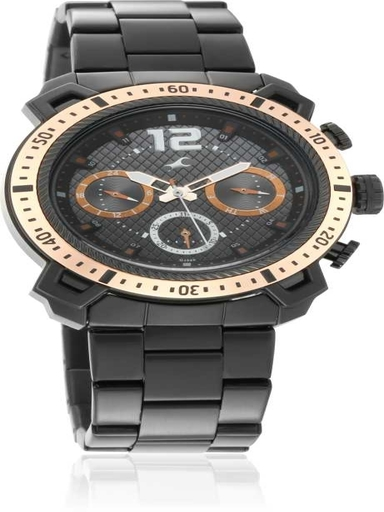 fastrack all nighters black dial stainless steel strap watch-3193KM01
