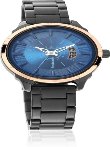 fastrack all nighters blue dial stainless steel strap watch-6187KM02