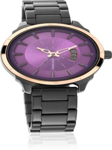 fastrack all nighters purple dial stainless steel strap watch-6187KM03
