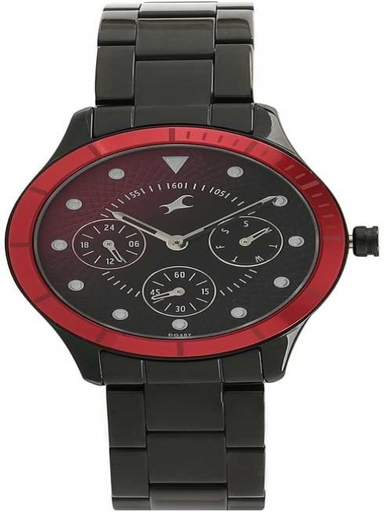 Fastrack All Nighters Bicolour Dial Metal Strap Watch-NL6163KM02