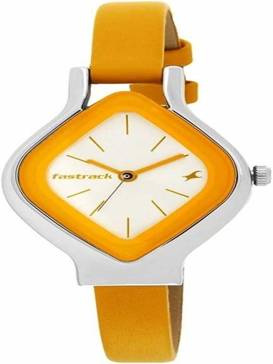 fastrack silver dial yellow leather strap watch-NL6109SL01