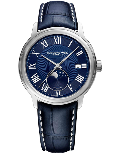 Raymond Weil Maestro Men's Moon Phase Automatic Blue Leather Men's Watch-2239-STC-00509
