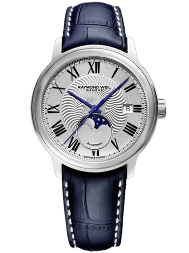 Raymond Weil Maestro Moon Phase Men's Automatic Blue Leather 40 MM Watch-2239-STC-00659