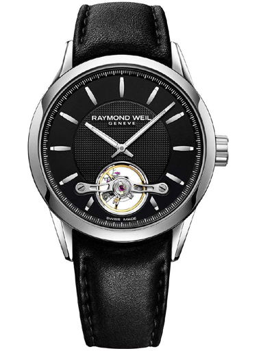 Raymond Weil Freelancer Men's Automatic steel on leather strap black dial 42mm Watch-2780-STC-20001