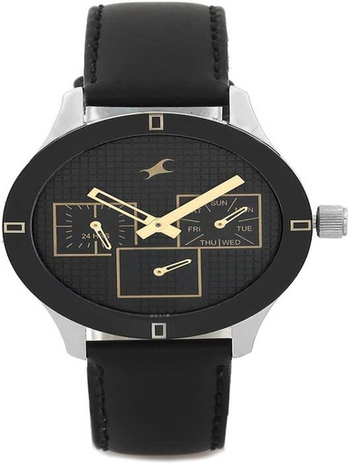 Fastrack Black Dial Leather Strap Women Watch-NL6078SL11