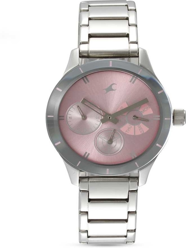 Fastrack Pink Dial Silver Stainless Steel Strap Watch-NL6078SM07