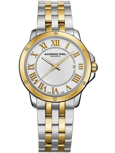 Raymond Weil Tango White Dial Two-Tone Steel With Gold PVD Men's Watch-5591-STP-00300