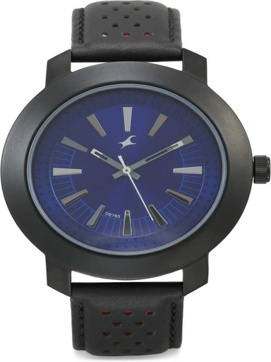 fastrack blue dial black leather strap watch-NL3120NL01