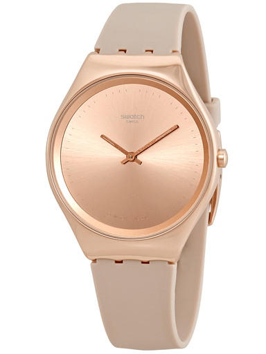 Swatch Skinrosee Rose Dial Beige Silicone Men's Watch-SYXG101