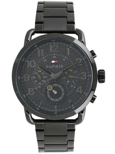 tommy hilfiger multi-function black dial black metal strap men's watch nbth1791423-NBTH1791423