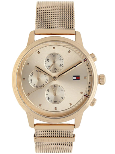 tommy hilfiger multi-function rose-gold dial mesh strap women's watch nbth1781907-NBTH1781907