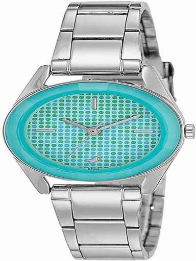 fastrack green dial silver stainless steel strap watch-NL6144SM02