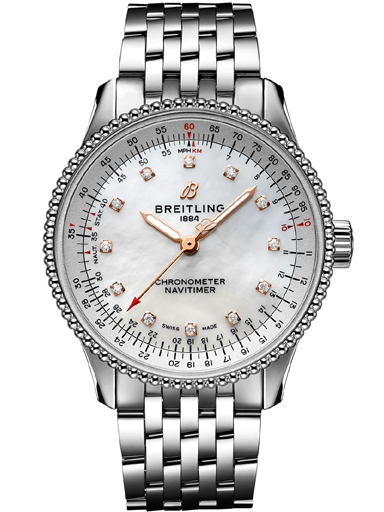 Breitling Navitimer Automatic 35 Midsize Steel MOP Diamond Dial Watch-A17395211A1A1