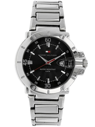 tommy hilfiger black dial metal strap men's watch nbth1790469-NBTH1790469