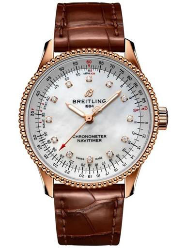 Breitling Navitimer Automatic 35 18k Red gold - Mother-Of-Pearl Diamonds Dial Watch-R17395211A1P2