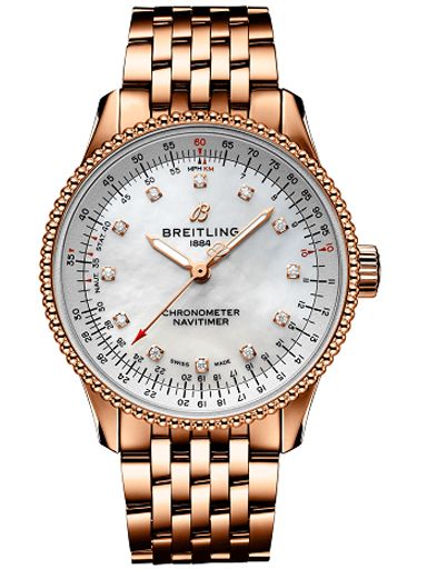 Breitling Navitimer Automatic 35 Steel/18k Red gold - Mother-Of-Pearl Diamonds Dial Watch-R17395211A1R1