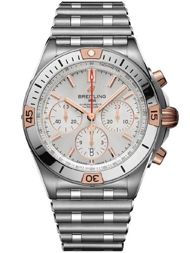 Breitling Chronomat B01 42 Steel & 18k red gold - Silver Automatic Watch-IB0134101G1A1