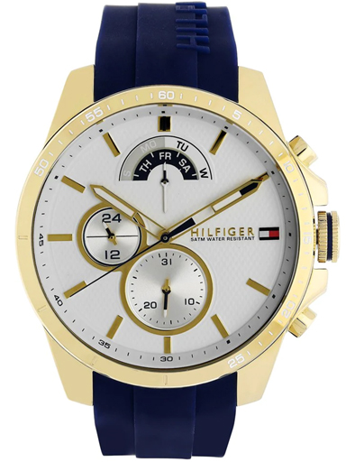 tommy hilfiger white dial blue silicone strap men's watch nbth1791353-NBTH1791353