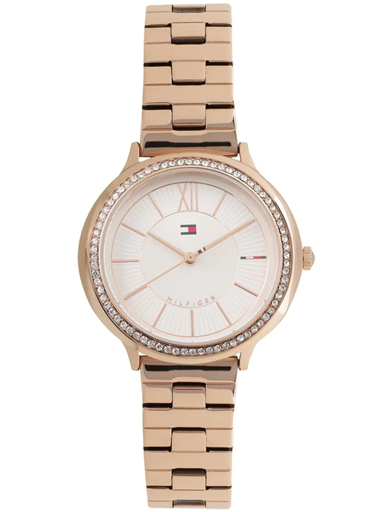 tommy hilfiger silver dial rose gold metal strap women's watch nbth1781861-NBTH1781861