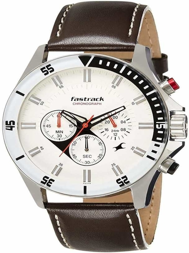 fastrack big time white dial leather strap watch-NL3072SL01