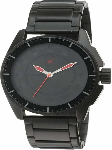 fastrack black dial black stainless steel strap watch-NL3089NM01