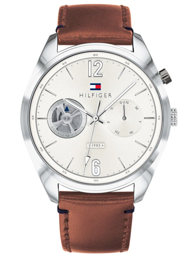 Tommy Hilfiger Silver Dial Brown Leather Strap Men's Watch TH1791550-TH1791550