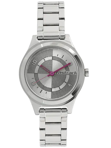 fastrack checkmate bicolour dial stainless steel strap watch-NL6152SM01