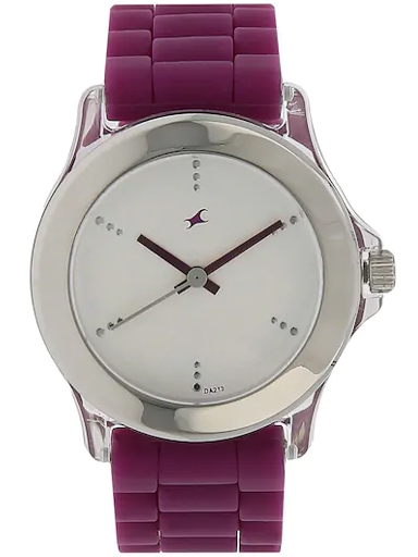 fastrack silver dial purple plastic strap watch-NL9827PP06